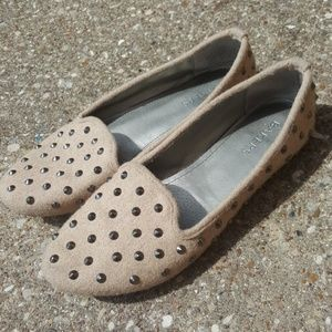 Bakers Studded Slip On Flats Camel Fabric 6.5